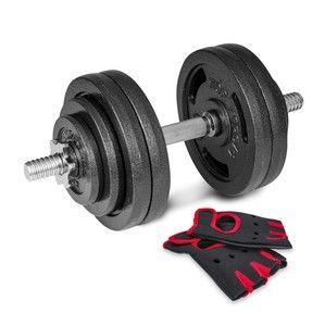 Liatinová činka Hop-sport 1x30 kg s rukavicami