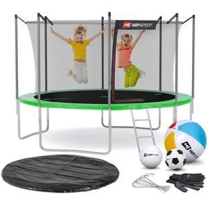 Trampolína Hop-Sport 12ft (366cm) s vnútornou ochrannou sieťou zelená